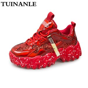 Chaussures de sport Femme Automne 2020 Mode pailletée Tissu respirant bling bout rond Chunky Loisirs Chaussures Femme Tenis Feminino TUINANLE
