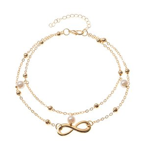 S1559 Hot Fashion Jewelry Double Layer Eight Pearls Anklet Chain Alloy Beads Ankle Bracelet Beach Anklets Foot Chains