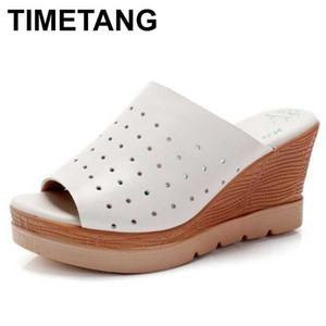 TIMETANG2020 high quality cowhide wedge sandals high heels casual wild summer leather sandals women slippers summer shoes 32-43