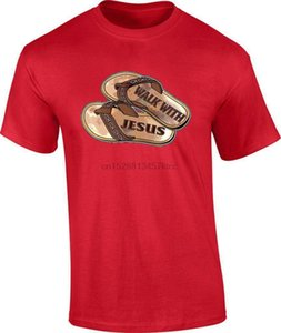 Camminare con Gesù Cristo flip flop sandali Christian religiosi SUPERA IL T T T-Shirt grafica personalizzata