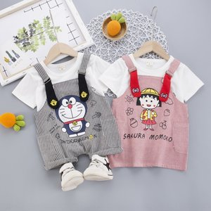 U5xX2 2020 children's suit Korean style children's summer dress Shoulder strap clothing new boy's straps short-sleeved girl's two-piece dres