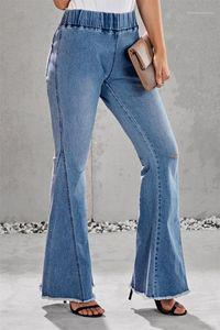 Damen-Jeans lose hohe Taillen-Damen-lange Jeanshosen Wide Leg Light Blue Woman Jeans Löcher Designer