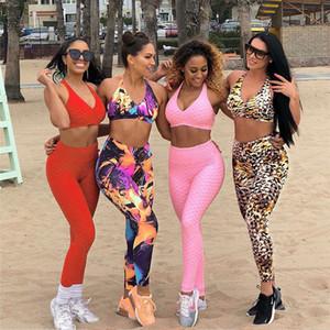 Frauen Sport-BH + Workout Leggings Fitness Nahtlose hohe Taillen-Yoga Set Sport-Klage Gym Bekleidung Sportlich Legging Laufen