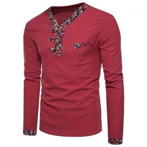 Uzun Kollu Düğme Patchwork Keten Tees Erkekler Moda Yeni Giyim Erkek Çince Style V yaka tişörtleri Man Sonbahar