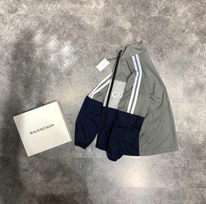 2020 outono francês e moda inverno letra impressão reflexiva designer de alta qualidade T-shirt de luxo dos homens blusão com zíper respirável