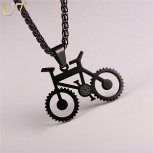 U7 Fahrrad Halskette schwarze Farbe Edelstahl-Fahrrad-Anhänger-Kette für Männer / Frauen 2020 Hot Fashion Jewelry Hippie Rock-P1028 axDe #