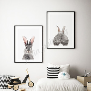 Cute Animal Rabbit Nordic Print Oil Minimalist Canvas Painting Decoration Picture Wall Art Poster Home Decor