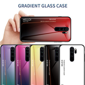 Convient pour Xiaomi redmi 9A 9C Note 8 8T 7 7A 6 pro téléphone mobile capot de protection anti-chute étui de téléphone design en verre gradient