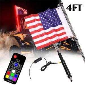 자료 방수 구부릴 수있는 무선 원격 제어 깃대 램프 빛 DC12V + 미국 국기와 함께 1 쌍 4FT RGB LED 채찍 빛