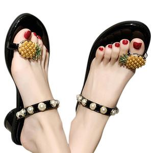 Yeni Marka Tasarım Casual Terlik Kadın Yaz Düz Tabanlı Pim Ayak Parmak Kelime Sandalet outsid Bayan Ayakkabıları Peep Toe Plaj Ayakkabı