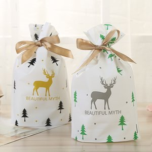 23*15*6cm Plastic Gold & Silver Christmas Elk Silk Drawstring Bags Wedding Sweets Package Wrapper Bag Wholesale