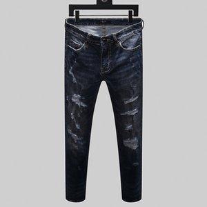 2019 summer new tattered fashion explosion denim straight denim skinny version of the motorcycle jeans long master design