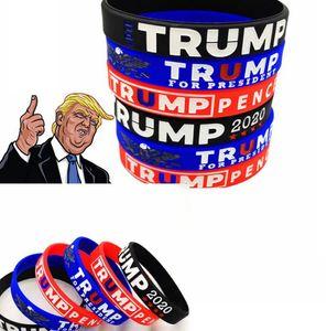 Trump pulseira 2020 borracha de silicone Esporte Wrist Band Trump Supporters Bangles Pulseiras para o presidente Vote partido 2.020 favor LJJK2446