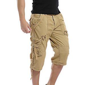 HEFLASHOR 2020 Verano de Carga hombres de los cortocircuitos ocasionales del algodón Pantalones cortos Multi-bolsillo de media caña pantalones cortos de los hombres al aire masculinos
