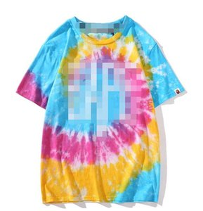 Spring and summer European and American tide brand new ape head tie dye gradient high-quality men and women with the same size short-sleeved