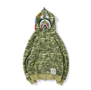 Hip Sport Camo Autunno Inverno Lover stampa del fumetto allentato Rosa Verde Blu Camo hoodies degli uomini Hop Camo maglione con cappuccio