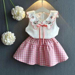 BibiCola Bebés Meninas Set Crianças roupas sem mangas Alças Tops + Saias 2pcs crianças Menina Roupa Outfits