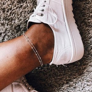 New Summer Gold Silver Color Bead Chain Anklet for Women Vintage Foot Ankle Sandals Bohemian Beach Leg Jewelry Anklet Wholesale T200714