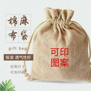 jute coarse cotton tied rope small cotton linen bag linen bag