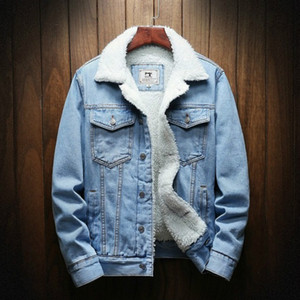 Men Fashion Jackets Designer Winter Thick Denim Jackets Mens Lapel Long Sleeved Casual Loose Coats 2020 Autumn WinterTop Quality