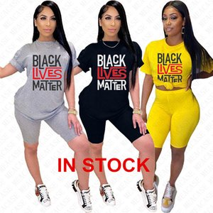 Women Tracksuit Designer Letters BLACK LIVES MATTER Short Sleeves T Shirt Top Shorts 2 Pieces Outfits Summer Street Casual Sports Suit D7616