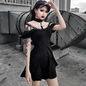JIEZHOUFANG Women Gothic Style Punk Shoulder Strappy Sexy Evening Party Dress Short Sleeve Lace Women Ladies Elegant