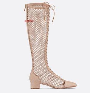 Di vendita calda donne sexy del ginocchio alta Mesh Sandals Boots gladiatore traspirante Outs del taglio tacchi bassi Scarpe Fishnet Lace Up lunghi stivali partito Mujer