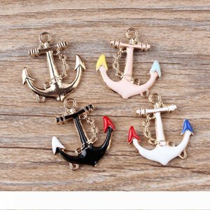Vintage Gold Enamel Anchor Charms Pendants Alloy 24mm*29mm for Jewelry Making DIY Handmade 31x19mm Jewelry making DIY