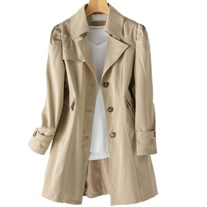 Korean Version of the Solid Color Long Coat Casual Loose Single Breasted Women Trench Coat 2020 Fashion Autumn Windbreakers