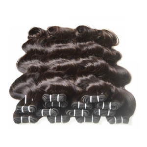 Wholesale Brasiliano Body Wave Brasiliano Non remy Human Hair Caphines Teaves 1kg 20 Bundles Lotto Nero Nero naturale 100% Capelli umani possono cambiare colore