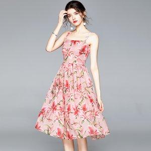 Floral Merchall 2020 el verano del diseñador del cauce del tirante de espagueti largo vestidos de mujer de impresión en la playa elegante de Boho Midi vestido Vestidos