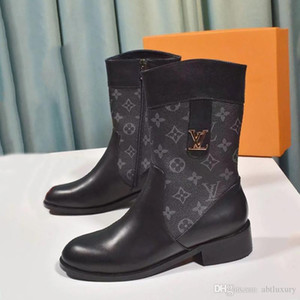 New Fashion Winterstiefel Frauen Zipper Mid -Calf Wedge Damen Lederstiefel Luxuxentwurf Chaussures De Femme Mode Damenschuhe Booties Vi