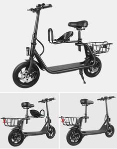 New Manke Qualitäts-12-Zoll-350W Eltern-Kind-Folding Elektro-Kick-Bike mit zwei Sitzen und Korb MK027