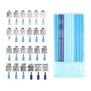 Lápices Brutfuner 24PCS 6H to14B suave de bocetos de lápiz de dureza media suave del carbón de leña Dibujo Lápices Set Standard escuela Lápices Y200709