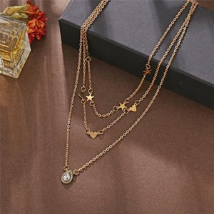 New Vintage Gold Color Multi Layer Chain Necklaces For Women Fashion Bohemian CZ Zircon Crystal Waterdrop Pendant Necklace