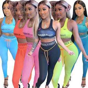 Plus size 3X Summer Women jogger suit fitness yoga two piece set sleeveless tank TOP crop top skinny leggings casual letter outfits 3447