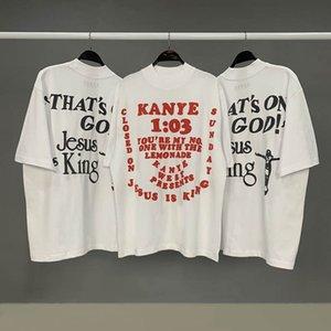 camisas Kanye Serviço domingo T Jesus é o t-shirt rei Homens e mulher Top t-shirt Medo Casual Of God Superior Inferior Tees Moda Streetweat Juventude