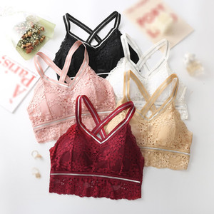 2020 Lace Hollow Out Floral Cami Simple Elegant Solid Color Camisole Women Intimates Fashion Wild Underwear With Chest Pad