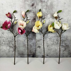 50cm Magnolia Artificial Flower 3 Head Silk Fake Flowers For Wedding Party Supplies Home Garden Decorating Artificial Flowers