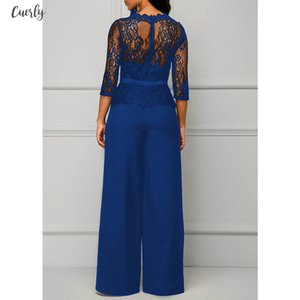 Lace Jumpsuits For Women Autumn Sexy High Waist Palazzo 3 4 Sleeve One Piece Peplum Rompers With Long Wide Leg Pant
