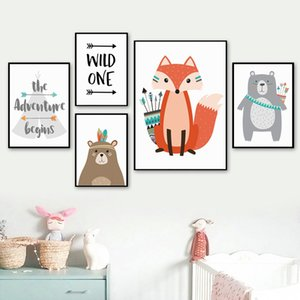 Cartoon Baby Animal Bear Canvas Poster Nursery Wall Art Print Painting Nordic Advanture Quote Picture Children Bedroom Decor