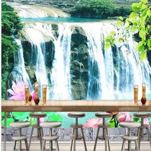 Custom any size photo wallpapers Natural waterfall landscape wallpapers background wall 3d landscape wallpaper