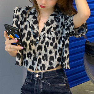 Summer New Leopard Crop Tops Women Korean Shoulder Elegant Short Shirts Female 2020 Autumn Fashion Lady Single-breasted Top