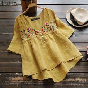 Summer V Neck Short Sleeve Shirt Women Vintage Embroidery Blouse Female Floral Blusas Robe Femme Casual Cotton Linen Tops