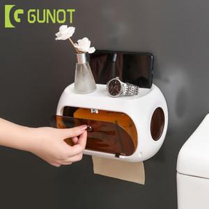 GUNOT WC Waterproof Paper Holder Banho armazenamento Rack Tissue portátil Box para toucador de plástico Início Acessórios para Banheiro