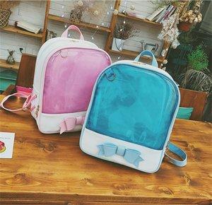 Girl Backpack PU Leather Transparent Jelly Bow Knapsack Student Shoulders Bag Fashion Hot Sale 28cl UU