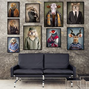 Canvas Painting Animals In Cloth Retro Style Wall Art Lion Wears A Suit Poster Wolf Elephant Print Picture for Living Room Decor