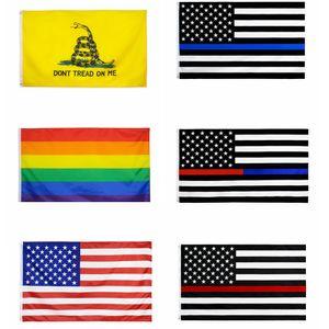 90 * 150CM EUA listrado Bandeiras do arco-íris LGBT gadsden blueline bandeira americana da bandeira dos EUA com guarnições de latão 3 * 5 FFA4258 pé