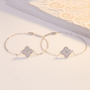 Tianwei zircon 925 sterling silver four-leaf clover diamond bracelet simple bracelet exquisite beauty