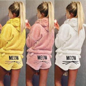 Donne Pigiameria MEOW Cat Stampa Pullover con cappuccio manica lunga Shorts Pajama Set Top sonno Bottoms Donna Intimo da notte Sets 4O6X #